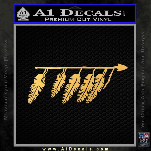 Indian Spear Feathers Decal Sticker Gold Vinyl