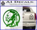 Indian Warrior Decal Sticker Green Vinyl Logo 120x97