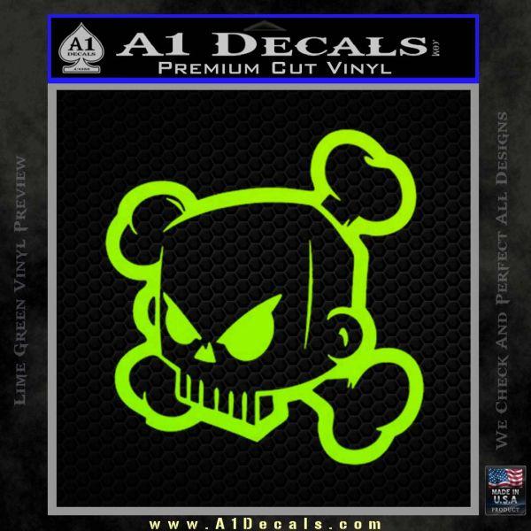 JDM Horror Skull D1 Decal Sticker Lime Green Vinyl
