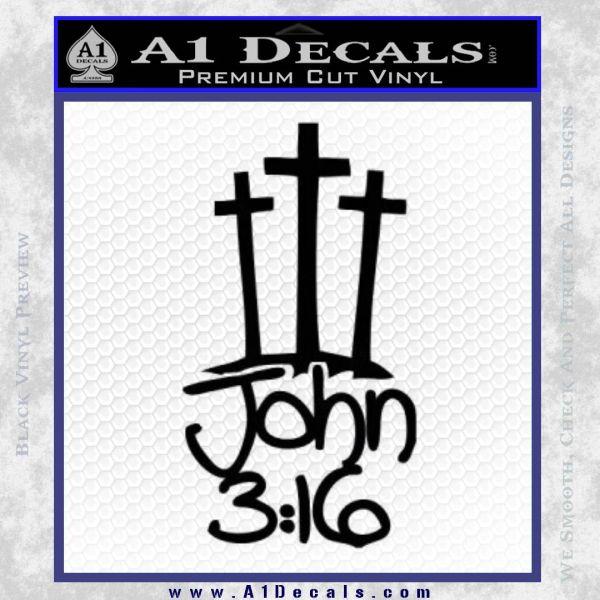 John 3 16 Decal Sticker Black Vinyl