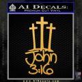 John 3 16 Decal Sticker Gold Vinyl 120x120
