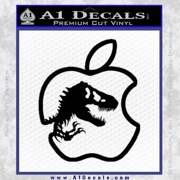 Jurassic Park Apple Decal Sticker Black Vinyl