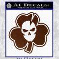 Lucky Skull Shamrock Irish Luck Decal Sticker BROWN Vinyl 120x120