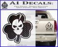 Lucky Skull Shamrock Irish Luck Decal Sticker Carbon FIber Black Vinyl 120x97