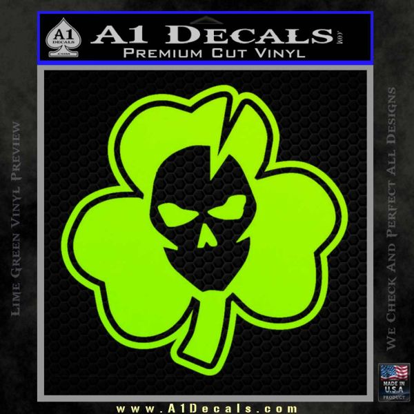 Lucky Skull Shamrock Irish Luck Decal Sticker Lime Green Vinyl