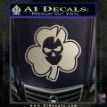 Lucky Skull Shamrock Irish Luck Decal Sticker Metallic Silver Emblem 120x120