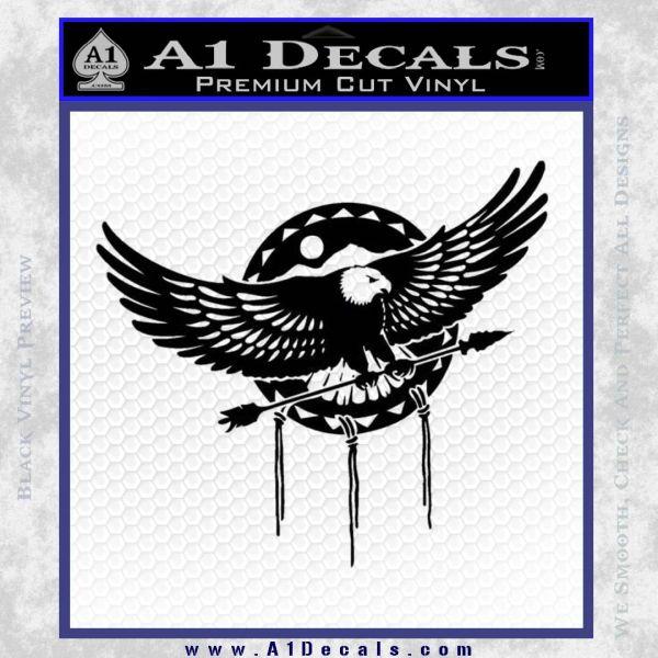 Native American Eagle Decal Sticker Black Vinyl