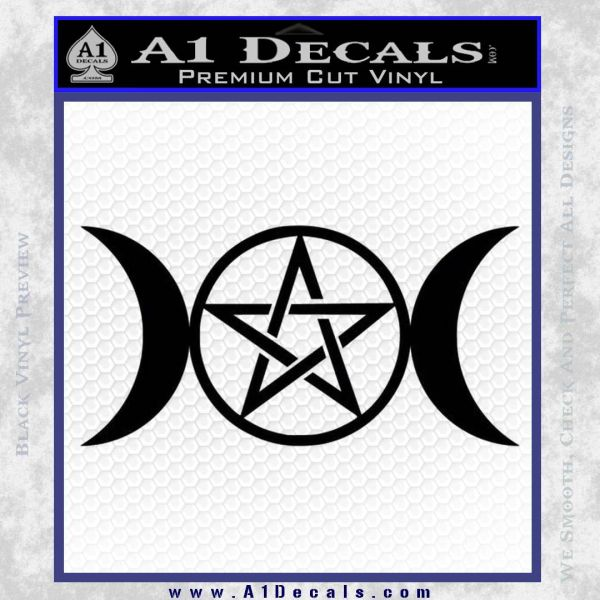 Pentacle Crescent Moons Decal Sticker Black Vinyl