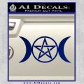 Pentacle Crescent Moons Decal Sticker Blue Vinyl 120x120
