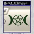 Pentacle Crescent Moons Decal Sticker Dark Green Vinyl 120x120