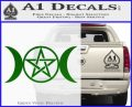 Pentacle Crescent Moons Decal Sticker Green Vinyl Logo 120x97