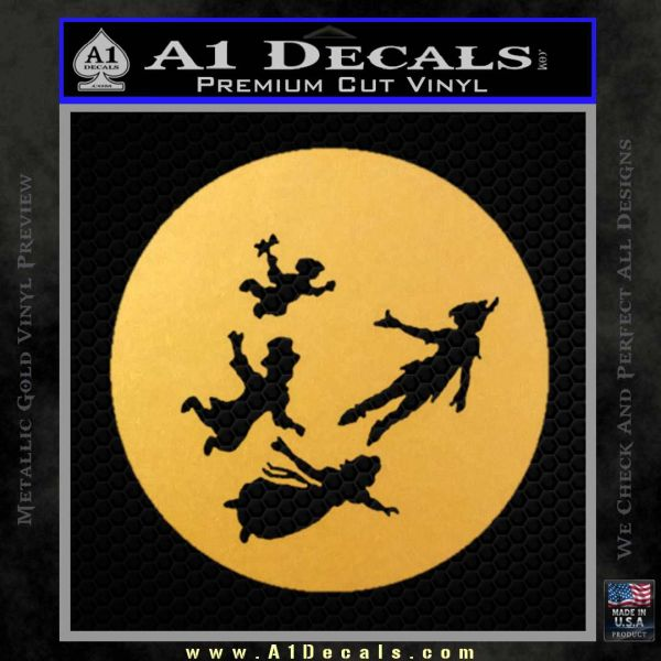 Peter Pan Kids Flying D2 Decal Sticker Gold Vinyl