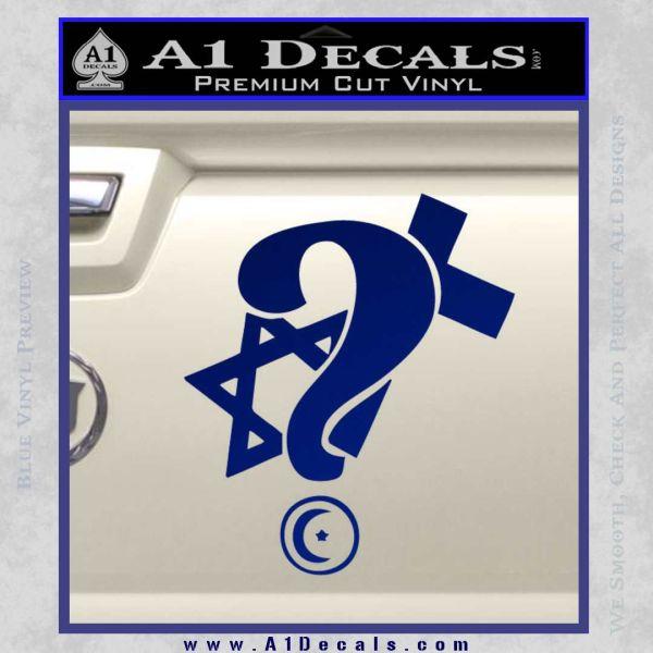 Question Religion Decal Sticker Blue Vinyl