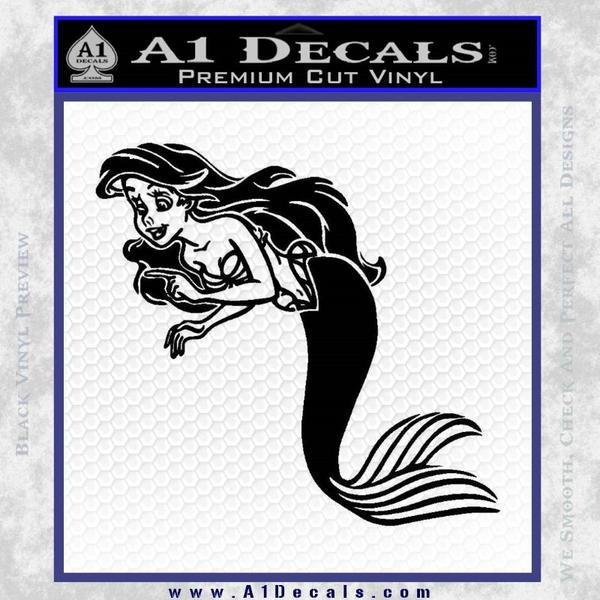 The Little Mermaid Decal Sticker Black Ariel Vinyl Black
