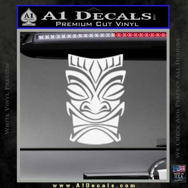 Tiki Decal Sticker D1 White Vinyl Black