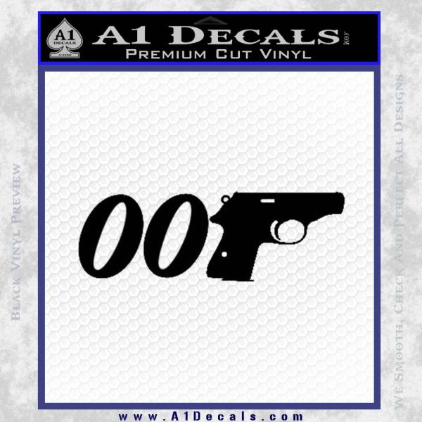 007 PPK James Bond Walther Decal Sticker D2 Black Vinyl