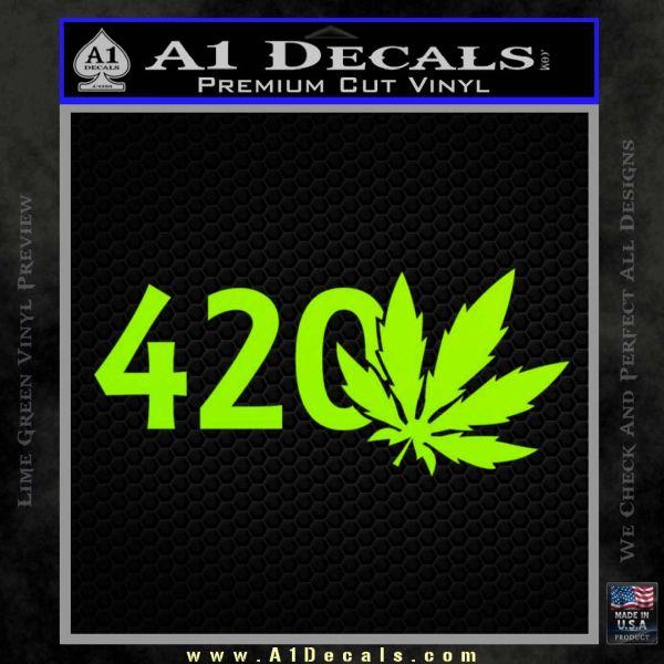 420 Leaf Decal Sticker Lime Green Vinyl