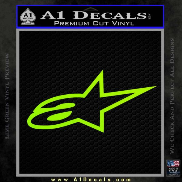 Alpine star logo only decal sticker lime green vinyl