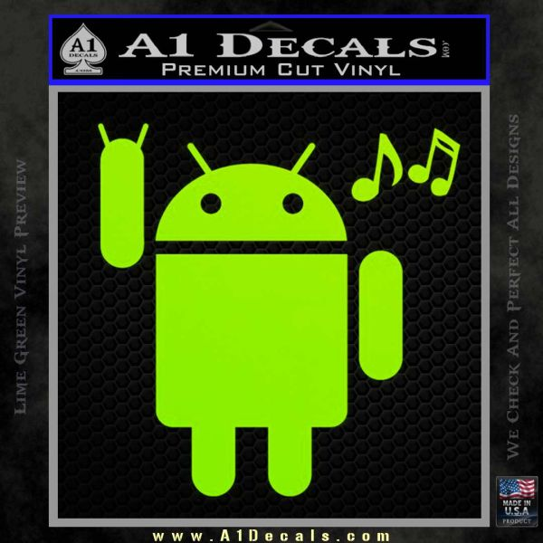Android Rockin Out Music Decal Sticker Lime Green Vinyl
