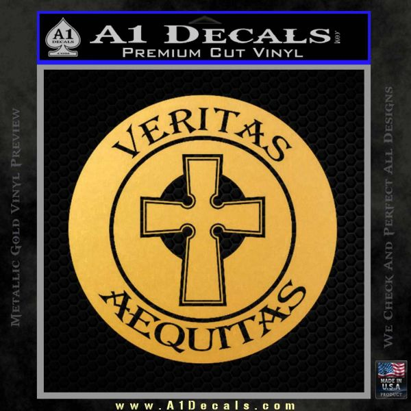 Boondock Saints Veritas Aequitas D3 Decal Sticker Gold Vinyl