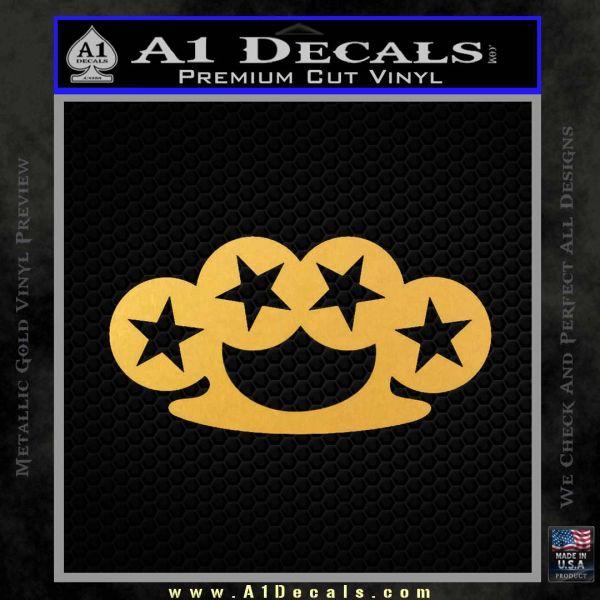 Brass Knuckles Decal Sticker Rock Star Gold Vinyl