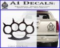 Brass Knuckles Spiked Decal Sticker Carbon FIber Black Vinyl 120x97