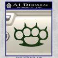 Brass Knuckles Spiked Decal Sticker Dark Green Vinyl 120x120