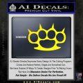 Brass Knuckles Spiked Decal Sticker Yellow Laptop 120x120