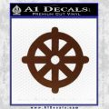Buddhist Wheel Symbol Decal Sticker BROWN Vinyl 120x120