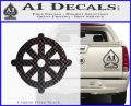 Buddhist Wheel Symbol Decal Sticker Carbon FIber Black Vinyl 120x97