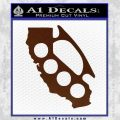 California Brass Knuckles Decal Sticker BROWN Vinyl 120x120