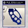 California Brass Knuckles Decal Sticker Blue Vinyl 120x120