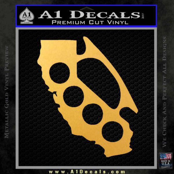 California Brass Knuckles Decal Sticker Gold Vinyl