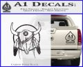 Cattle Skull Feather Cow Decal Sticker Carbon FIber Black Vinyl 120x97