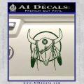 Cattle Skull Feather Cow Decal Sticker Dark Green Vinyl 120x120