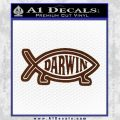 Darwin Jesus Fish D2 Decal Sticker BROWN Vinyl 120x120