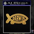 Darwin Jesus Fish D2 Decal Sticker Gold Vinyl 120x120