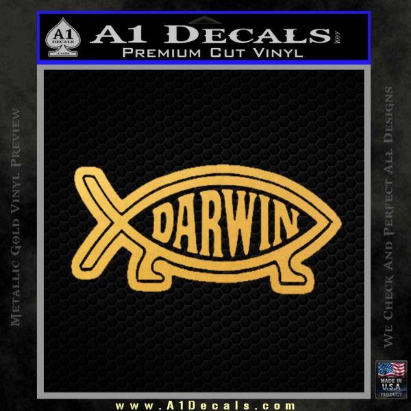 Darwin Jesus Fish D2 Decal Sticker Gold Vinyl