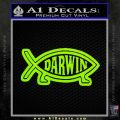 Darwin Jesus Fish D2 Decal Sticker Lime Green Vinyl 120x120