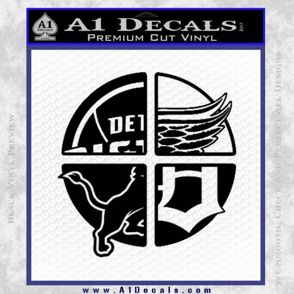 Detroit pro sports d1 decal sticker black vinyl