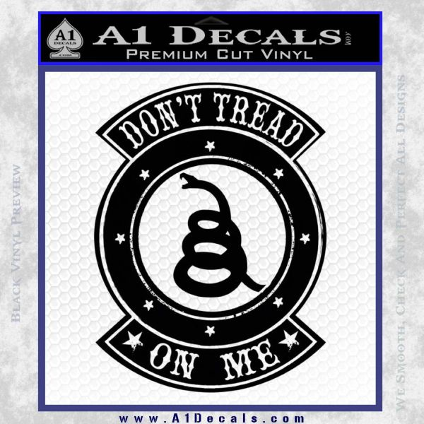 Dont Tread On Me Gadsden Snake DE Decal Sticker Black Vinyl