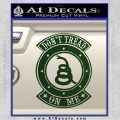Dont Tread On Me Gadsden Snake DE Decal Sticker Dark Green Vinyl 120x120