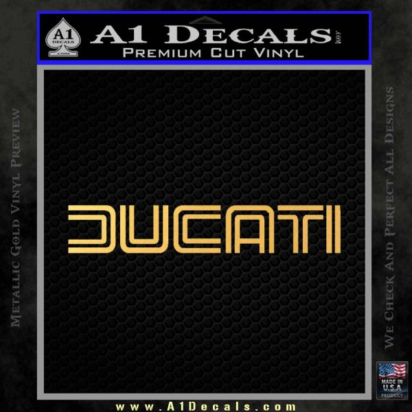 Ducati Retro Decal Sticker Gold Vinyl