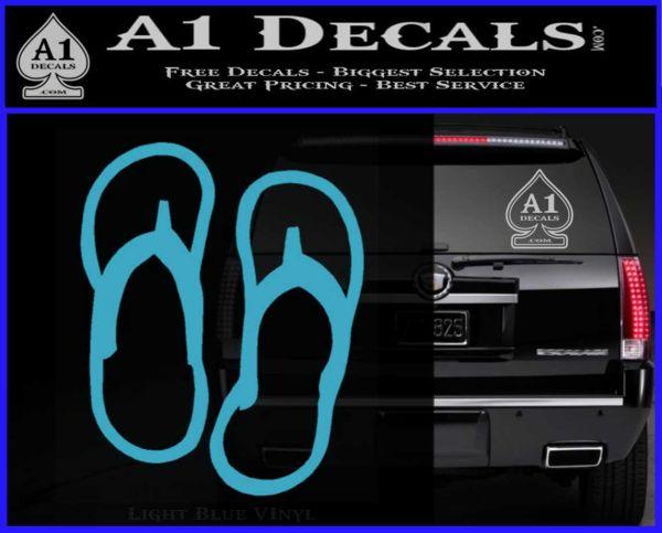 Flip Flop Decal Sticker Sandals Light Blue Vinyl