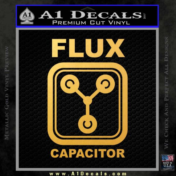 Flux Capacitor Decal Sticker Gold Vinyl