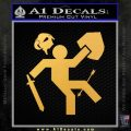 Funny Warrior Video Game D1 Decal Sticker Gold Vinyl 120x120