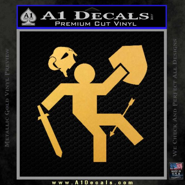 Funny Warrior Video Game D1 Decal Sticker Gold Vinyl