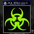 Futuristic Biohazard Decal Sticker D1 Lime Green Vinyl 120x120