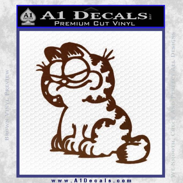 Garfield Decal Sticker Sitting BROWN Vinyl