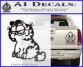 Garfield Decal Sticker Sitting Carbon FIber Black Vinyl 120x97